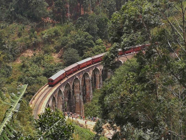 A train runs over the Nine Arches Bridge in Ella, Sri Lanka by Lori Zaino